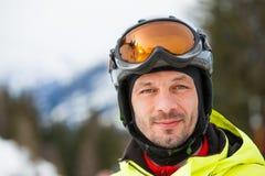 portret męska narciarka Obrazy Royalty Free