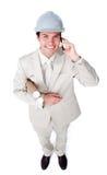 Portret męski architekt na telefonie Zdjęcie Royalty Free