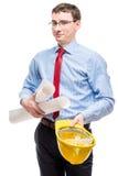 Portret męski architekt z rysunkami Zdjęcia Stock