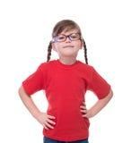 Portret mała śliczna dziewczyna jest ubranym szkła Obrazy Royalty Free
