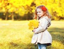 Portret małej dziewczynki śliczny dziecko z żółtymi klonowymi liśćmi Obraz Royalty Free