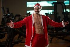 Portret macho mężczyzna w Santa kostiumu fotografia royalty free