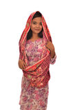 Portret Malajska kobieta z kebaya na białym tle Fotografia Royalty Free