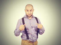 Portret man bald with a beard showing astonishment Royalty Free Stock Image