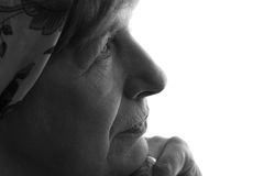 Portret marszcząca twarz babcia Zdjęcia Royalty Free