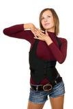 Portret marzycielska dziewczyna w czarnej kamizelce Fotografia Stock