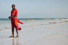 Portret masai mężczyzna w tradycyjnym odziewa, Kiwengwa, Zanzibar Obraz Stock