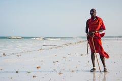 Portret masai mężczyzna w tradycyjnym odziewa, Kiwengwa, Zanzibar Zdjęcia Stock