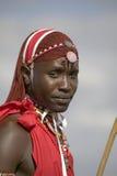 Portret Masai wojownik w tradycyjnej czerwonej todze przy Lewa przyrody Conservancy w Północnym Kenja, Afryka Zdjęcie Royalty Free