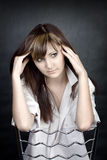 Portret melancholiczna młoda kobieta Zdjęcia Stock