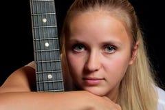 Portret met gitaar Stock Afbeeldingen