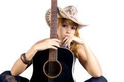 Portret met gitaar stock fotografie