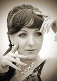 Portret met handen dichtbij gezicht Stock Fotografie