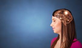 Portret met hersenen en brainstormingsconcept stock fotografie