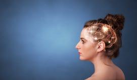 Portret met hersenen en brainstormingsconcept royalty-vrije stock afbeelding