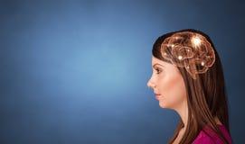 Portret met hersenen en brainstormingsconcept royalty-vrije stock foto