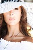 Portret met hoed Royalty-vrije Stock Afbeeldingen