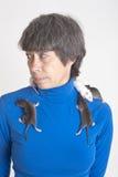 Portret met ratten Stock Afbeelding