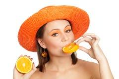 Portret met sinaasappel Stock Fotografie