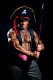 Portret mięśniowy mężczyzna w pirata kostiumu Fotografia Stock
