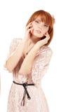 Portret młoda piękna redheaded nastoletnia dziewczyna Fotografia Stock
