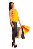 Portret młoda szczęśliwa uśmiechnięta kobieta z torba na zakupy, isolat Obraz Stock