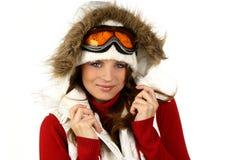 Portret młodej dziewczyny szczęśliwy jazda na snowboardzie Zdjęcia Stock
