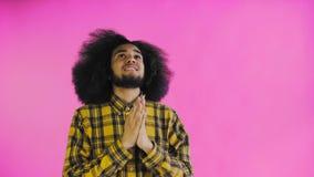 Portret modlenia amerykanin afrykańskiego pochodzenia facet utrzymuje palce krzyżujący i krzyczący bóg zadawala na purpurowym tle zdjęcie wideo