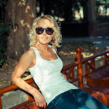 Portret modna blondynki dziewczyna Zdjęcie Royalty Free