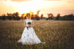 Portret modna panna młoda w ślubnej sukni pozyci przy zmierzchem w polu zdjęcie stock