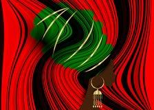 Portret mooie Afrikaanse vrouw in de traditionele druk van de omslag Afrikaanse, Traditionele dashiki van tulband rode Kente hoof Royalty-vrije Stock Afbeelding