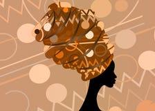 Portret mooie Afrikaanse vrouw in traditionele tulband, de hoofdomslag van Kente, dashikidruk, zwarte afrovrouwen stock illustratie