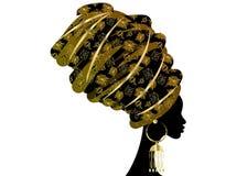 Portret mooie Afrikaanse vrouw in traditionele tulband, druk van de omslag Afrikaanse, Traditionele dashiki van Kente de hoofd, z Stock Afbeelding