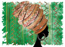 Portret mooie Afrikaanse vrouw in traditionele tulband, druk van de omslag Afrikaanse, Traditionele dashiki van Kente de hoofd, z Royalty-vrije Stock Foto's