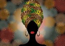 Portret mooie Afrikaanse vrouw in traditionele tulband, druk van de omslag Afrikaanse, Traditionele dashiki van Kente de hoofd, z stock illustratie