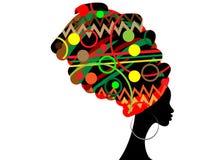 Portret mooie Afrikaanse vrouw in traditionele tulband, geïsoleerd zwartensilhouet Stock Foto