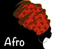 Portret mooie Afrikaanse vrouw in traditionele tulband, zwartensilhouet Royalty-vrije Stock Afbeelding
