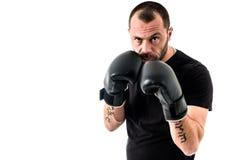 Portret męski atleta boksera mężczyzna patrzeje agresywny z Boxin Fotografia Royalty Free