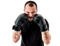 Portret męski atleta boksera mężczyzna patrzeje agresywny z Boxin Obraz Royalty Free