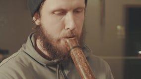 Portret muzyk bawić się flet zbiory wideo