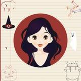 Portret myśleć o elementach Halloween mała dziewczynka royalty ilustracja