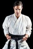 Portret myśliwska spełnianie karate postawa zdjęcia royalty free