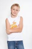 Portret N5 van een jongen van elf jaar. Stock Foto