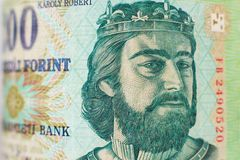 Portret na hungarian 200 forintów rachunek obraz royalty free