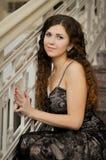 Portret na schodkach Zdjęcia Royalty Free