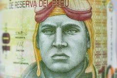 Portret na 10 zoli/lów pieniądze peruvian rachunku fotografia royalty free