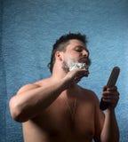 Portret nagi mężczyzna golenie Obraz Stock