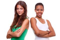 Portret narodowości dwa różnej dziewczyny Zdjęcie Royalty Free