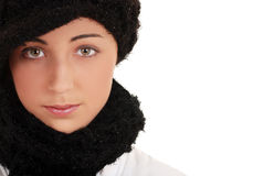 Portret nastoletni z zima kapeluszem i szalikiem Zdjęcia Royalty Free