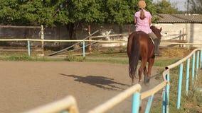 Portret nastoletnia dziewczyna na horseback przy zmierzchem zbiory